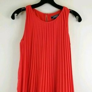 Lands End Girl 12 Red Pleated Sleeveless Dress